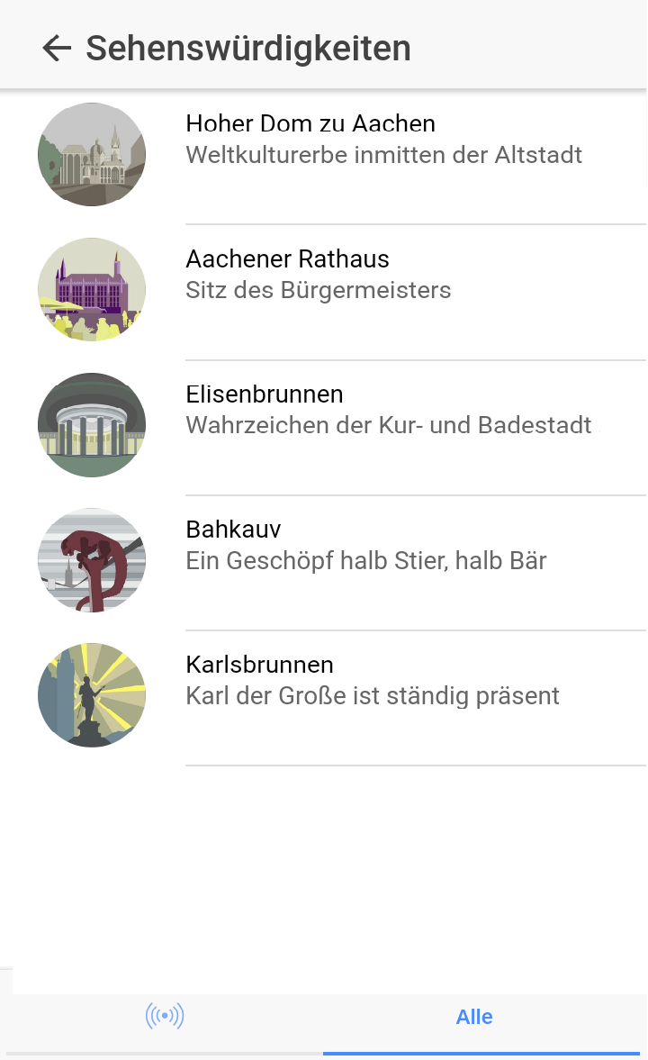 Screen 1   Sightseeing Liste